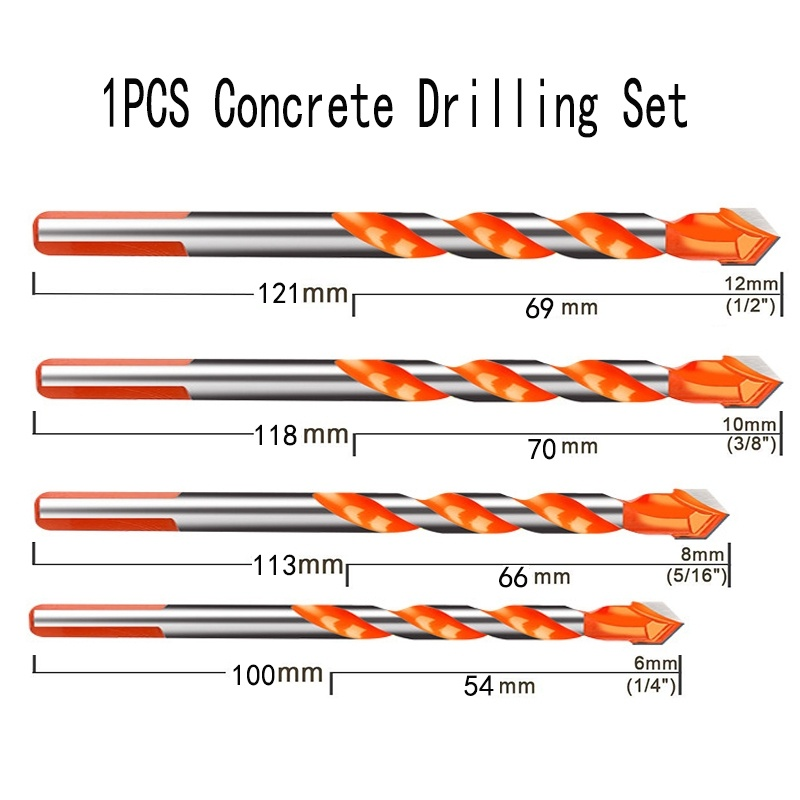 1PCS Ceramic Tile Drill Bits ,Masonry Drill Bits Set For Glass, Brick, Tile, Concrete, Plastic And Wood Tungsten Carbide Tip