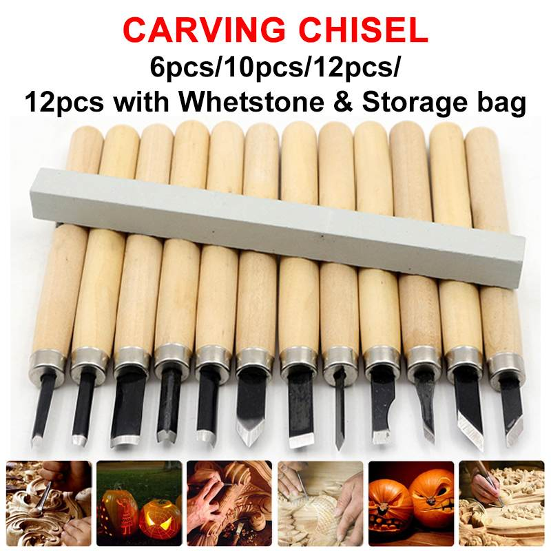 6 x Wood Carving Tools Set Sculpture Soapstone//Woodwork Chisel Craft Supplies