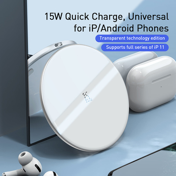 Baseus Upgrade 15W Wireless Charger For iPhone 12 11 X Xs Max Xr Fast Wireless Phone Charger For Samsung S10 S9 Xiaomi MI9 2