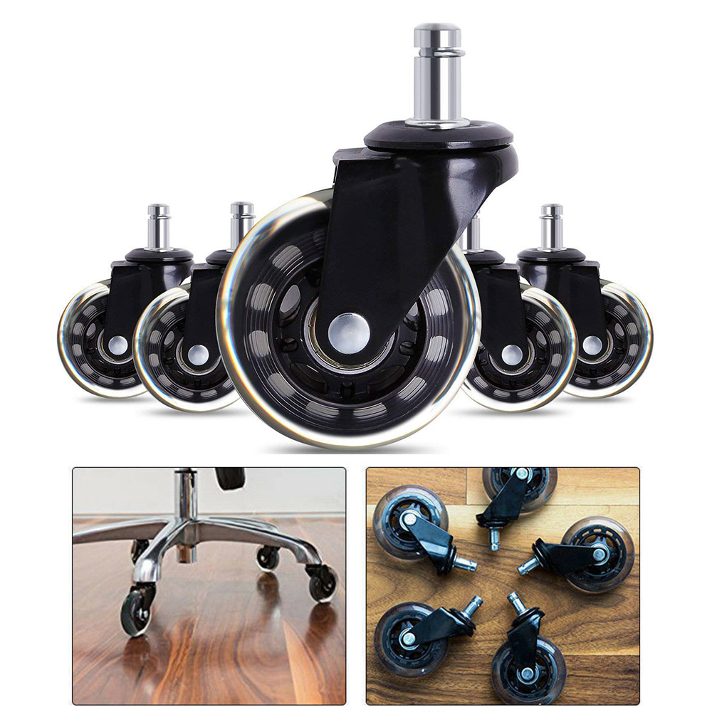 5 peças rodas rodízio cadeira de escritório 3 Polegada giratória rodízio resistente rodas substituição macio seguro rolos móveis ferragem-1
