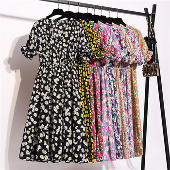 2020 New Summer Short Sleeve Chiffon Print Dress Women Sweet V Neck Mid Calf Floral Dress Office Lady цена 2017