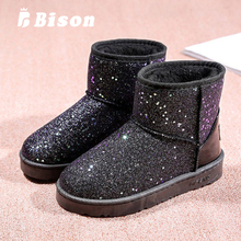 Bison Women Winter Boots Snow Boot Shoes Shining Flat Heels Winter Boots Ankle Warm Plush Thicker Anti-Skid Shoes Female Boots women winter walking boots ladies snow boots waterproof anti skid skiing shoes women snow shoes outdoor trekking boots for 40c