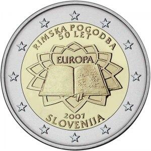 Словения 2007 50-летие Римского договора 2 евро НАСТОЯЩИЕ Оригинальные монеты настоящая Европейская коллекция памятная монета Unc
