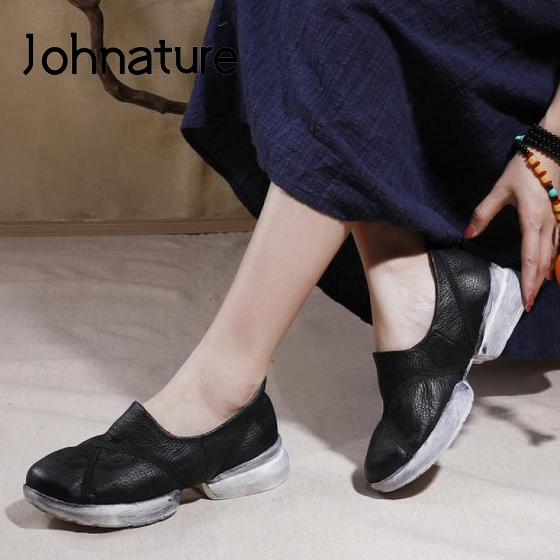 Johnature Chunky Sneakers 2020 New Spring Summer Women Shoes Genuine Leather Sewing Slip-on Leisure Concise Ladies Sneakers