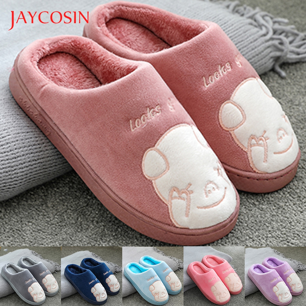 Jaycosin Winter Home Slippers Women Mens Couples Warm Slip On Cute shoes woman winter shoes Floor Home slippers animals Slides 1