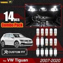 Xukey – Kit d'éclairage intérieur de voiture pour VW Tiguan 2007 – 2020, lumières de dôme, paquet d'ampoules de plaque d'immatriculation T10 sans erreur 16 blanc