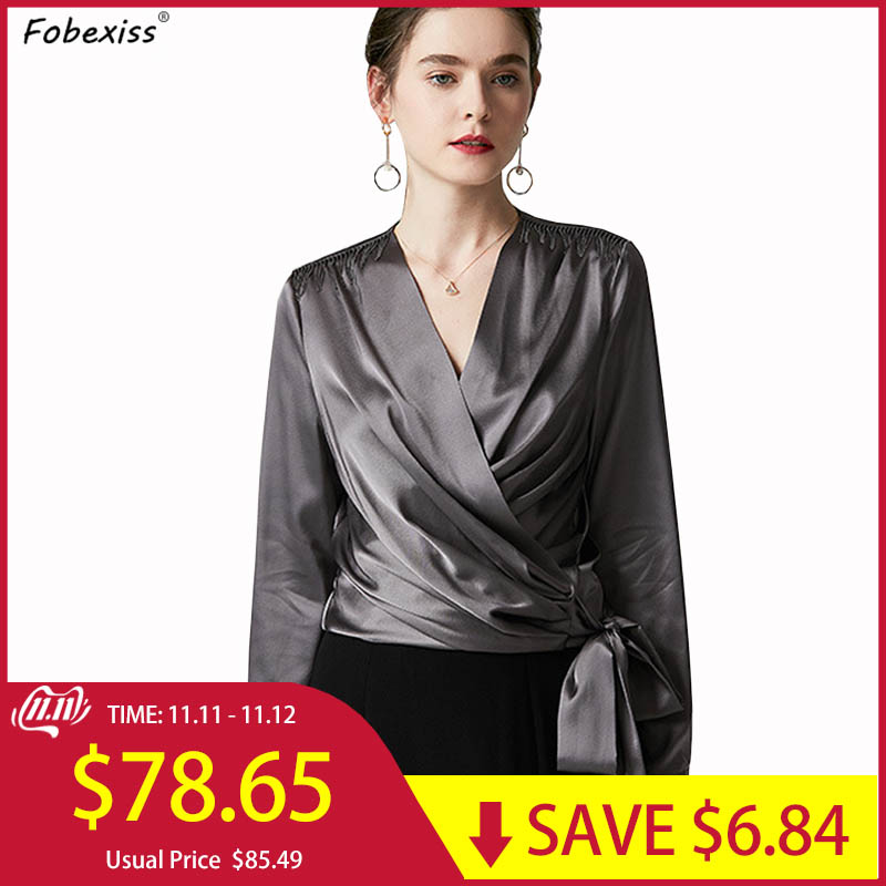 100% Natural Silk Satin Blouse Fall 2019 Sexy V Neck Long Sleeve Side Lace Up Elegant Pure With Bow Wrap Shirt