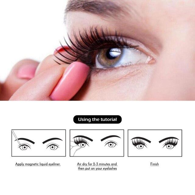 Magnetic False Eyelashes & Magnetic Liquid Eyeliner Set 5 Magnets Natural Fake Eyelashes Extension Waterproof Lasting Makeup Kit 4