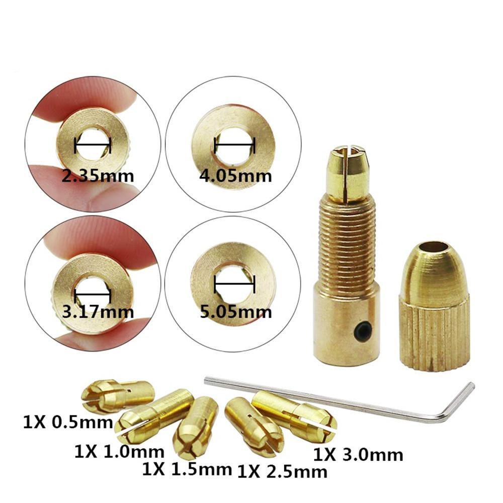 7pc Mini Electric Brass Drill Bit Collet 0.5-3mm Rotary Tool Drill Chuck Set
