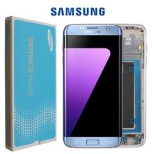 100% Original Super AMOLED LCD Ersatz Für Samsung S7 Rand G935F G935A G9350 LCD Digitizer Touchscreen Mit Rahmen Bildschirm