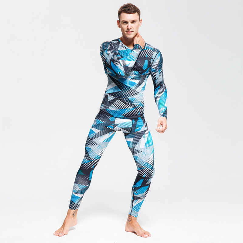 Warm Underwear Workout-Clothes-Set Compressed Long-Johns Winter Thermal Suit Sports Men title=