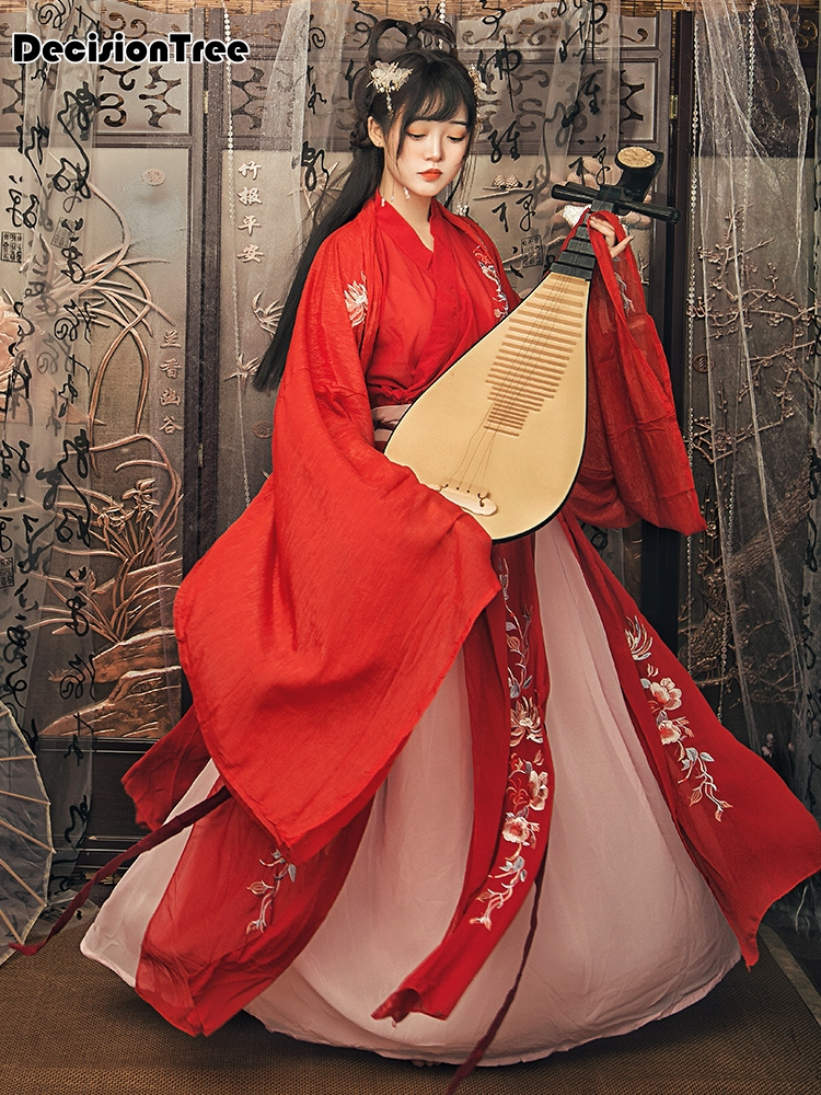 2020 Red Fairy Ancient Hanfu Dress Traditional Chinese Folk Dance Costumes Women Embroidered Elegant Performance Clothing
