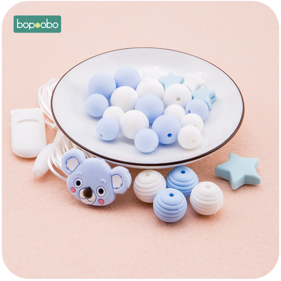 Bopoobo Silicone Beads Food Grade Animal Sprial Bead DIY Set For Nursing Pacifier Clip Pendant Necklace Crafts Accessory Teether