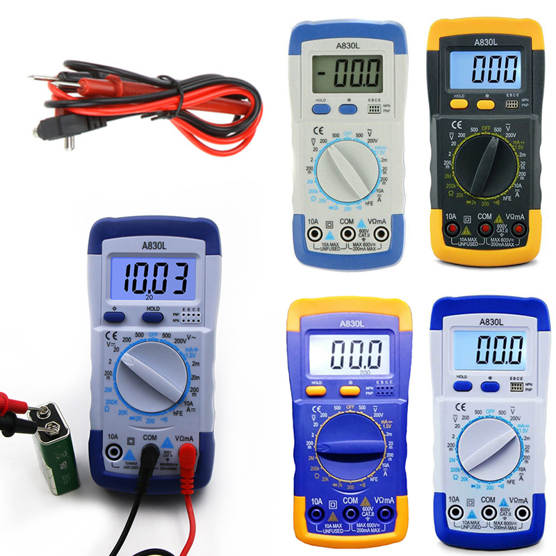 Image 5 - A830L Mini Multimeter LCD Digital Multimetro Volt Amp Ohm Tester Meter Voltmeter Ammeter Backlight Overload Protect With Probe-in Multimeters from Tools