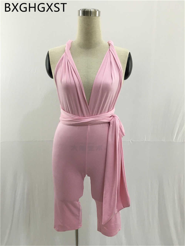 Seksowny kombinezon krótki różowy romper moda kobiety ubrania backless sexy romper kobiet elegancki imprezowy kombinezon damski jednoczęściowy 2020 боди для женщин body