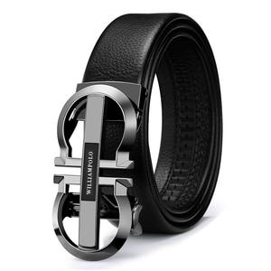 Image 5 - WILLIAMPOLO Luxury Brand Designer Leather Mens Genuine Leather Strap Automatic Buckle Waist Belt Gold Belt PL18335 36P
