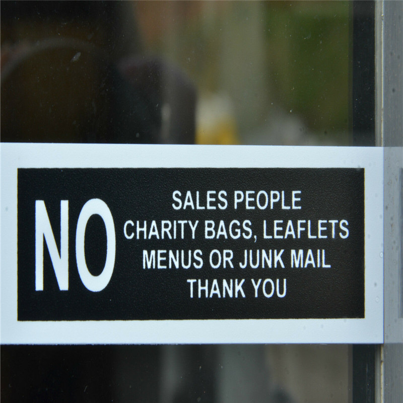 No Sales People Charity Bags Leaflets Menus Junk Mail Sign Or Sticker 200mmx100mm House number number stickers door sign image