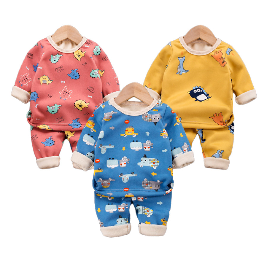 12M-8 Years 2Pcs/Set Pajamas Children's Underwear Suit Cartoon Velvet Warm Girl's Clothes of Winter Baby Boys Babies Clothes 6