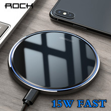 ROCK 15W Qi Wireless Charger For iPhone 11 Pro X XS XR 8 Fast Charging Mobile Phone Charge Mirror Pad For Xiaomi Mi9 Samsung S9