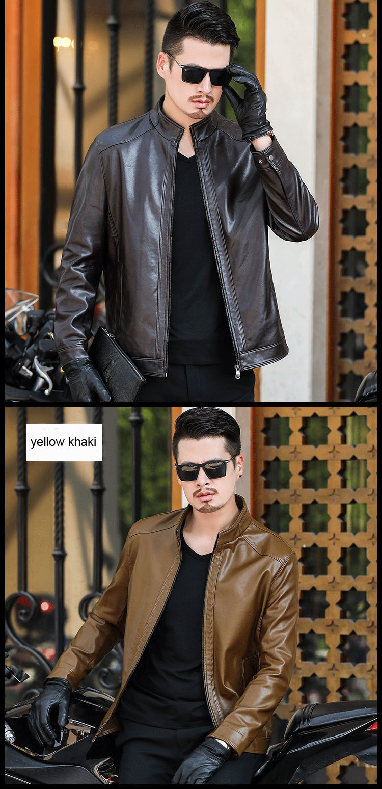 H1a3c6887f4874db391ea7ad1e37dcdces Plus size men genuine leather jacket 4XL 5XL 6XL 2020 spring and autumn zipper male sheepskin leather jacket father outwear P07