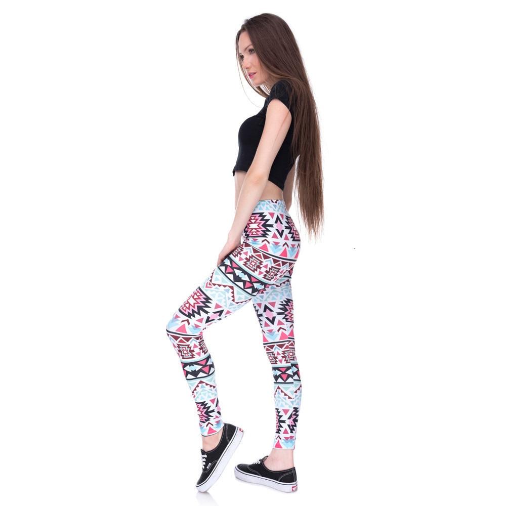 Brands Women Fashion Legging Aztec Round Ombre Printing leggins Slim High Waist  Leggings Woman Pants 53