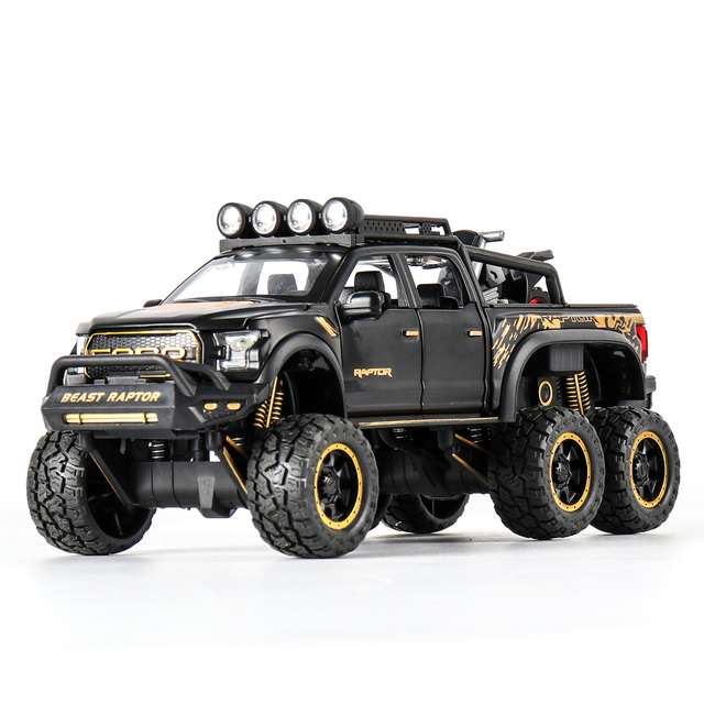 1:28 Diecast SUV FORD RAPTOR Metal Model Car Toy Wheels Alloy Vehicle Sound And Light Pull Back Car Boy Kid Toys Christmas Gift