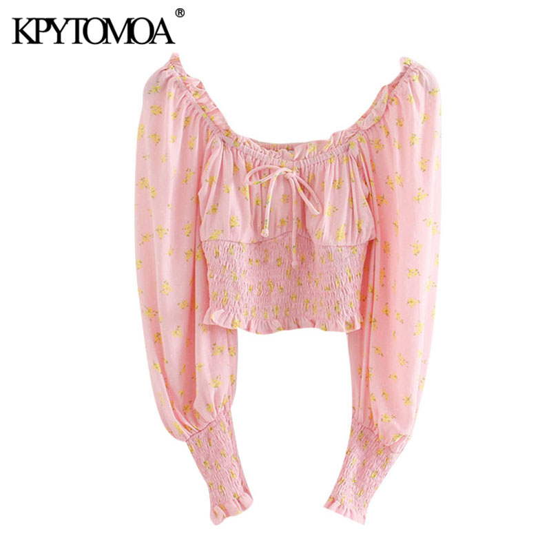 KPYTOMOA Women 2020 Sweet Fashion Floral Print Ruffled Cropped Blouses Vintage Long Sleeve Stretchy Female Shirts Chic Tops