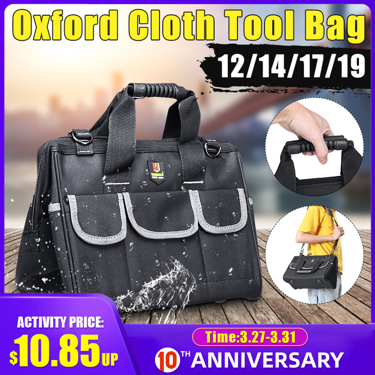 12/14/17/19 Inch Oxford Tool Bag Waterproof Hand Tool Storage Bag Electrician Bag Large Capacity Tool Storage Bag