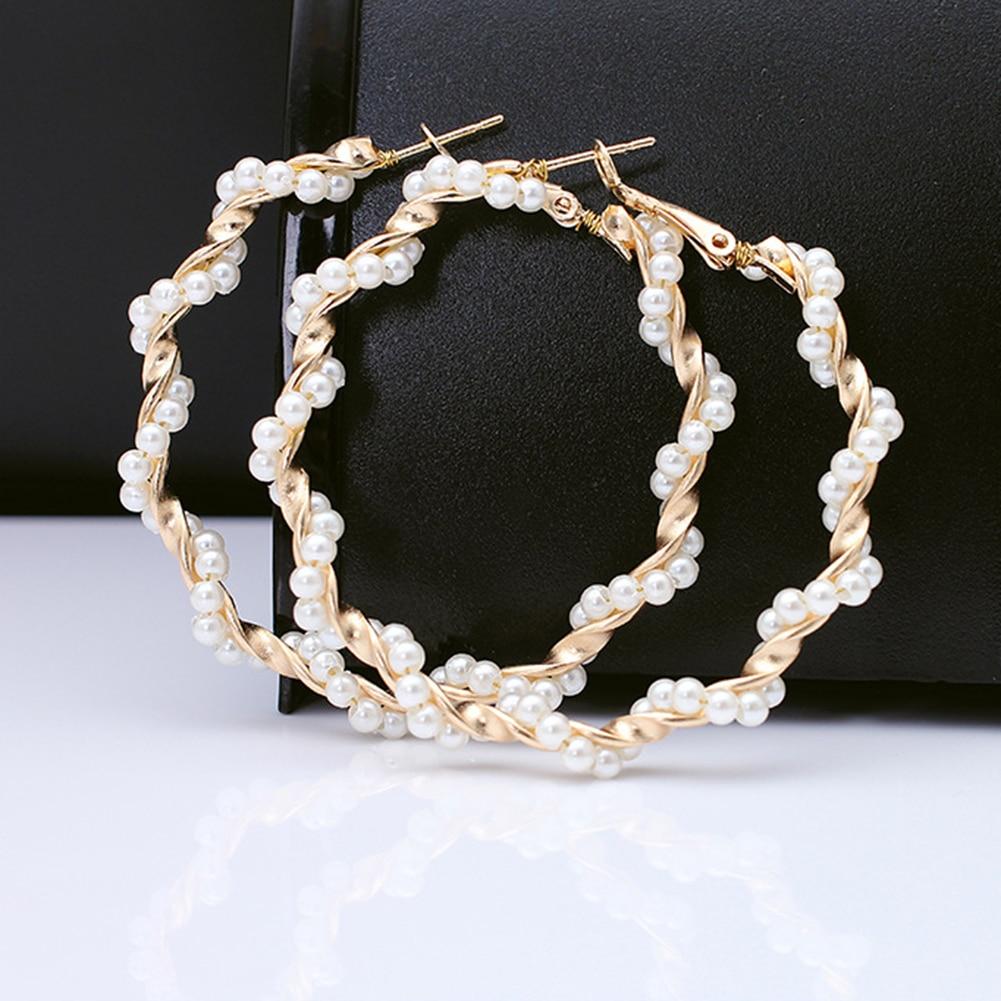 Oversize Pearl Hoop Earrings 2