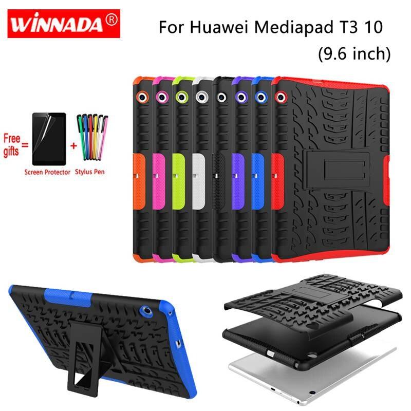Чехол для Huawei Mediapad T3 10, чехол T3 9,6 дюйма, искусственная задняя крышка для планшета из ТПУ + ПК, противоударный чехол-подставка + ручка + пленка