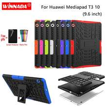 Voor Huawei Mediapad T3 10 case T3 9.6 AGS-L09 AGS-L03 AGS-W09 Armor case Tablet Siliconen TPU + PC Shockproof Stand cover + pen + Film(China)