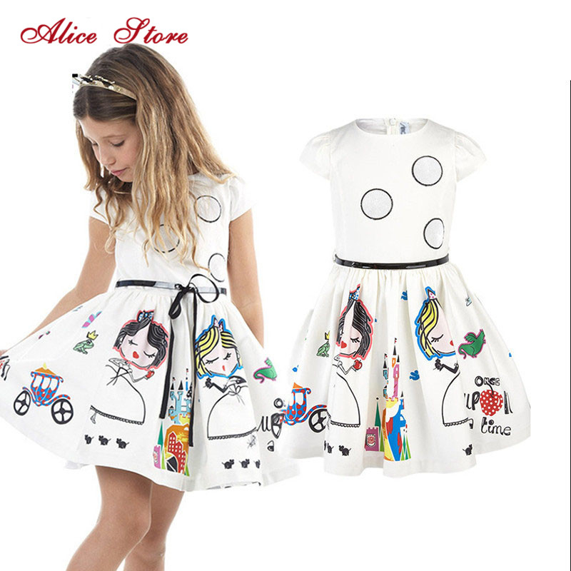 Girls Dress Kids Clothes summer Brand Baby with Sashes Robe Fille Character Princess Dress Children vestido Clothing|Dresses|   - AliExpress
