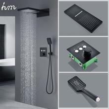 Hm Siyah Düğme Dokunmatik Duş Seti Gizli Gömülü Duvar Tipi Termostatik Kontrol Uçan yağmur biçimli duş Sistemi