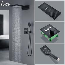 hm Black Button Touch Shower Set Hidden Embedded Wall Type Thermostatic Control Flying Rain Shower System model hm 7420 hm 7421 touch pad touch pad