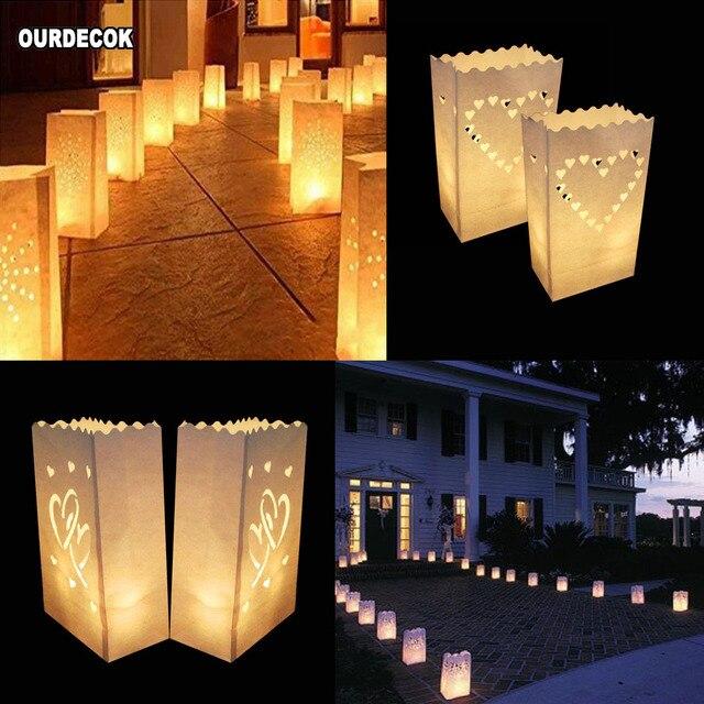 50 stuks 25cm Wit Papier Lantaarn Kaars Zak Voor LED licht Lampion Hart Voor Romantische Verjaardag Bruiloft Event BBQ Decoratie
