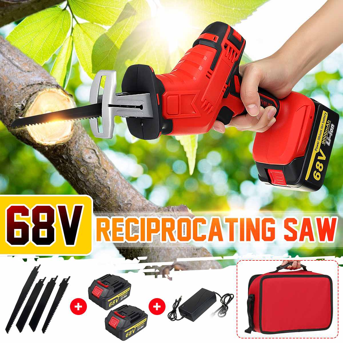 68V Reciprocating Saw Adjustable Speed Electric Saw with 4 Pieces Blades Saber Saw Portable Electric Saw for Wood Metal Cutting