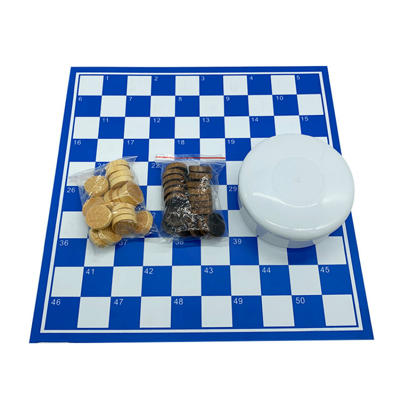 Puzzle Game Chess 64 Grid 100 Double-sided International Checkers Chessboard Wooden Chess Board PVC Chess Board