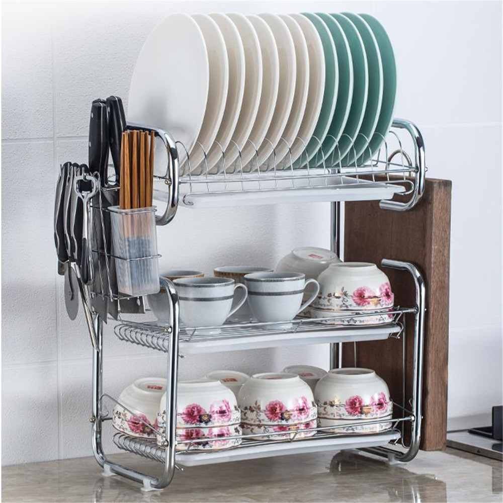 3-Layer Dishes Rack Kitchen Storage Stainless Steel Kitchen Dish Rack  Dish Drying Rack For Kitchenware Mug Holder