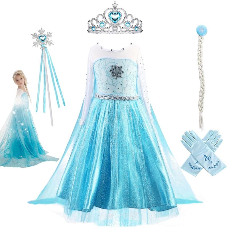 Fantasia bebê menina princesa vestidos para crianças elsa traje corpete de cristal sintético elsa vestido de festa crianças neve rainha cosplay roupas