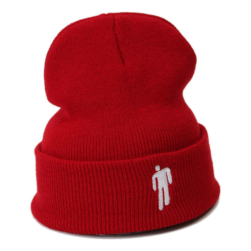 2020 Billie Eilish หมวกฤดูหนาวสำหรับผู้หญิง Little Man เย็บปักถักร้อยหมวกถัก Man ฤดูใบไม้ร่วงหมวก Hip Hip-hop beanie Bonnet ของขวัญ