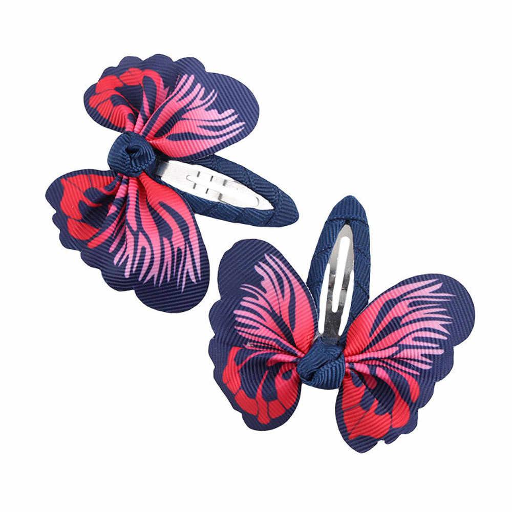 1 par de accesorios para el cabello de bebé Clip de pelo de moda adorable accesorios para el cabello de niñas Bowknot mariposa Wonderful horquillas tocado