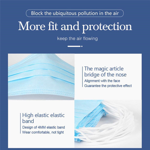 1Pcs 3 layer Disposable Elastic Mouth Soft Breathable Blue Soft Breathable Flu Hygiene Child Kids Face Mask Dropshipping 4