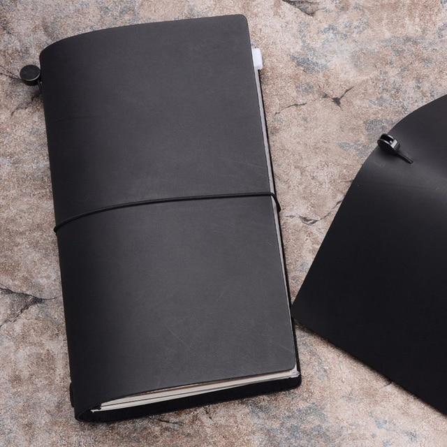 Traveler's Notebook A5 en cuir - Planner rechargeable - noir