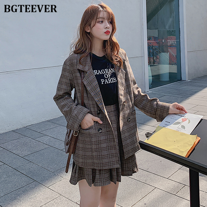 Vintage Two-piece Office Ladies Blazer Suits Double-breasted Jacket & A-line Skirt Women Skirt Suit Casual Blazer Sets 2019