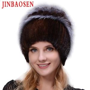 Image 2 - Woman winter Russian fur fashion real fur hat mink fur rabbit natural fox knit wool ski hat warm ear protection travel hat