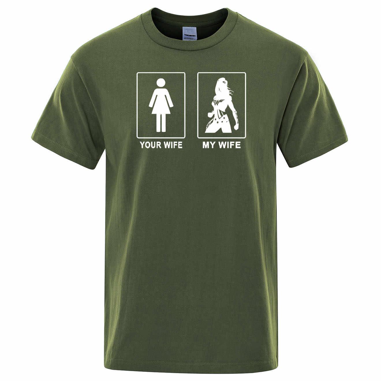 Wonder Woman Gal Gadot Mia Moglie Tua Moglie T-Shirt Cotone di Estate T Shirt Mens Punk Rock Supereroe Magliette E Camicette di Stampa Divertente tee Shirt