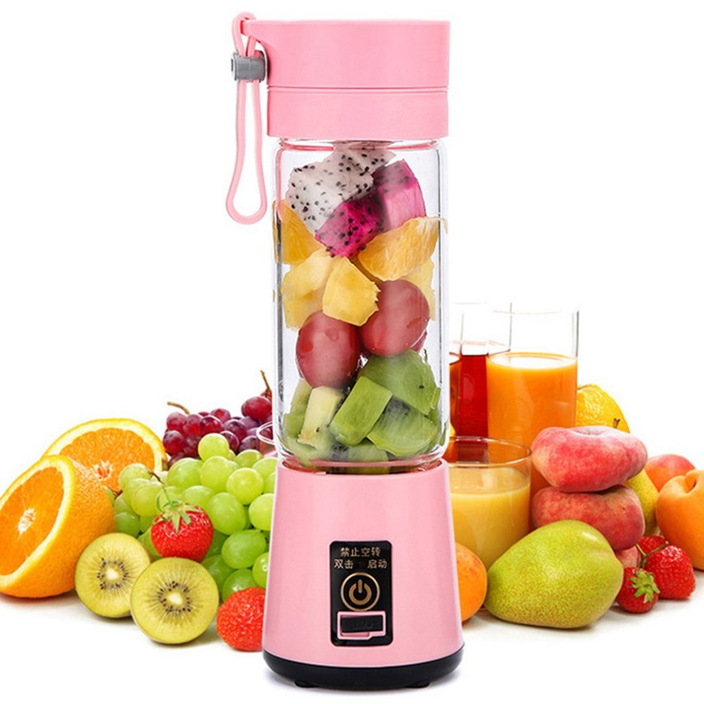 380ml 2/4/6 Blades Portable Electric Fruit Juicer Home USB Rechargeable Smoothie Maker Blenders Machine Sports Bottle JuicingCup