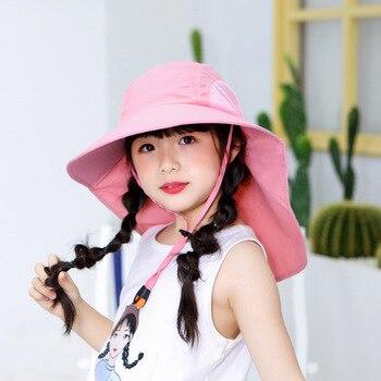 цены 2020 New Kids Summer Hat Girls Boys Sun Hat with Neck Flap UV Protection Safari Hat Baby Child Summer Travel Cap 2-12 Years Old