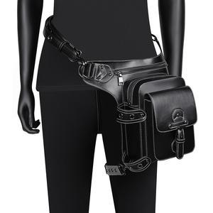 Gothic Punk mężczyźni saszetki na pas Steampunk torba opadająca na nogę motocykl pas biodrowy pakiet wielofunkcyjny Goth kobiety Crossbody na ramię Bagpack