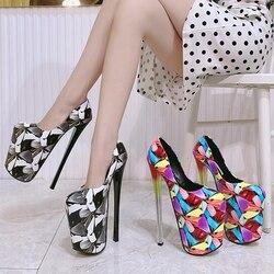 Zapatos de tacón alto para discoteca para mujer, de 22cm de tacón alto calzado femenino, Appeal para el sexo, boca poco profunda, fondo grueso, espectáculo de escenario